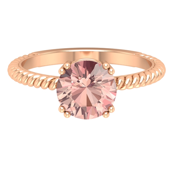 8 MM Round Shape Solitaire Morganite Ring in Double Prong Setting with Twisted Rope Detail