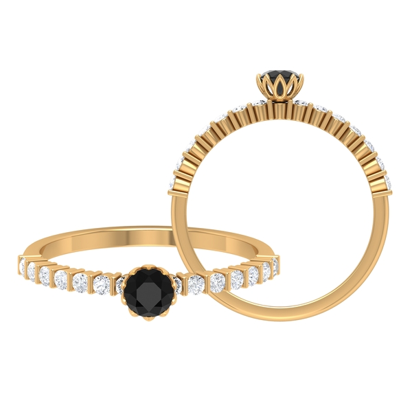 1/2 CT Black Diamond Solitaire Ring in Lotus Basket Setting with Diamond Side Stones