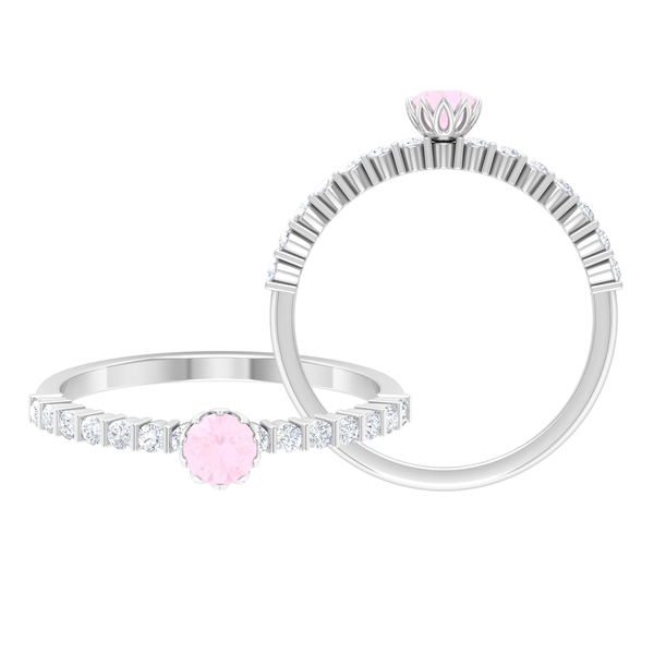 1/2 CT Rose Quartz Solitaire Ring in Lotus Basket Setting with Diamond Side Stones