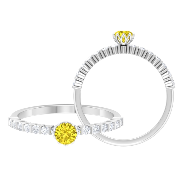 3/4 CT Yellow Sapphire Solitaire Ring in Lotus Basket Setting with Diamond Side Stones