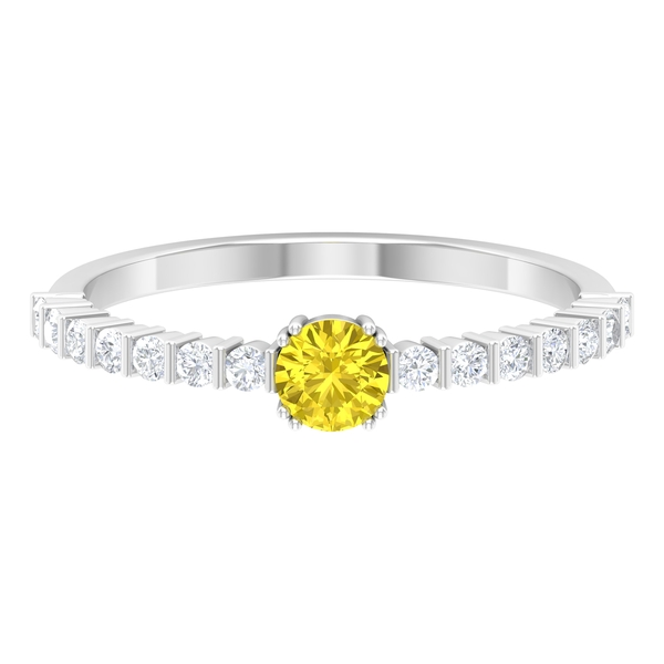 3/4 CT Solitaire Yellow Sapphire Ring in Double Prong Setting with Diamond Side Stones