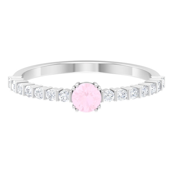1/2 CT Solitaire Rose Quartz Ring in Double Prong Setting with Diamond Side Stones