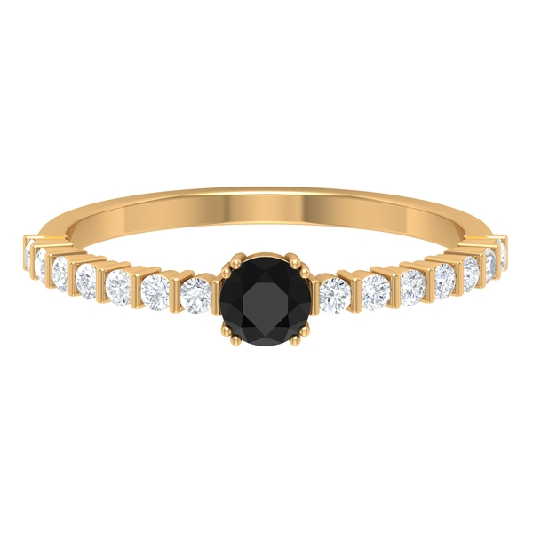 1/2 CT Solitaire Black Diamond Ring in Double Prong Setting with White Diamond Side Stones