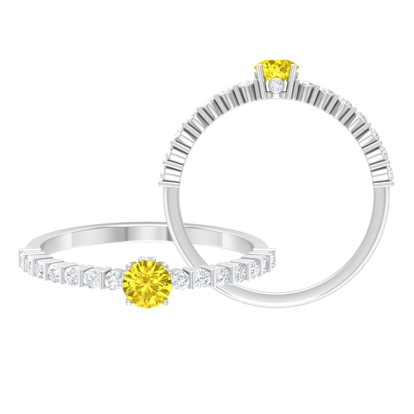 3/4 CT Solitaire Yellow Sapphire Ring in 4 Prong Setting with Surprise Diamond and Side Stones