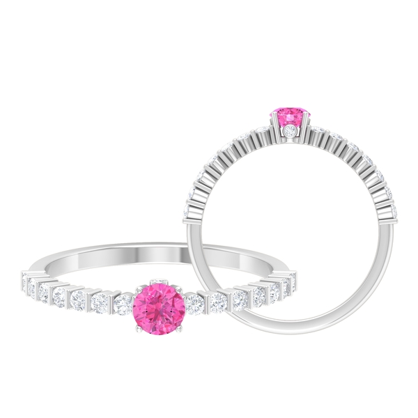 3/4 CT 4 Prong Set Pink Sapphire Solitaire Engagement Ring with Bar Set Diamonds