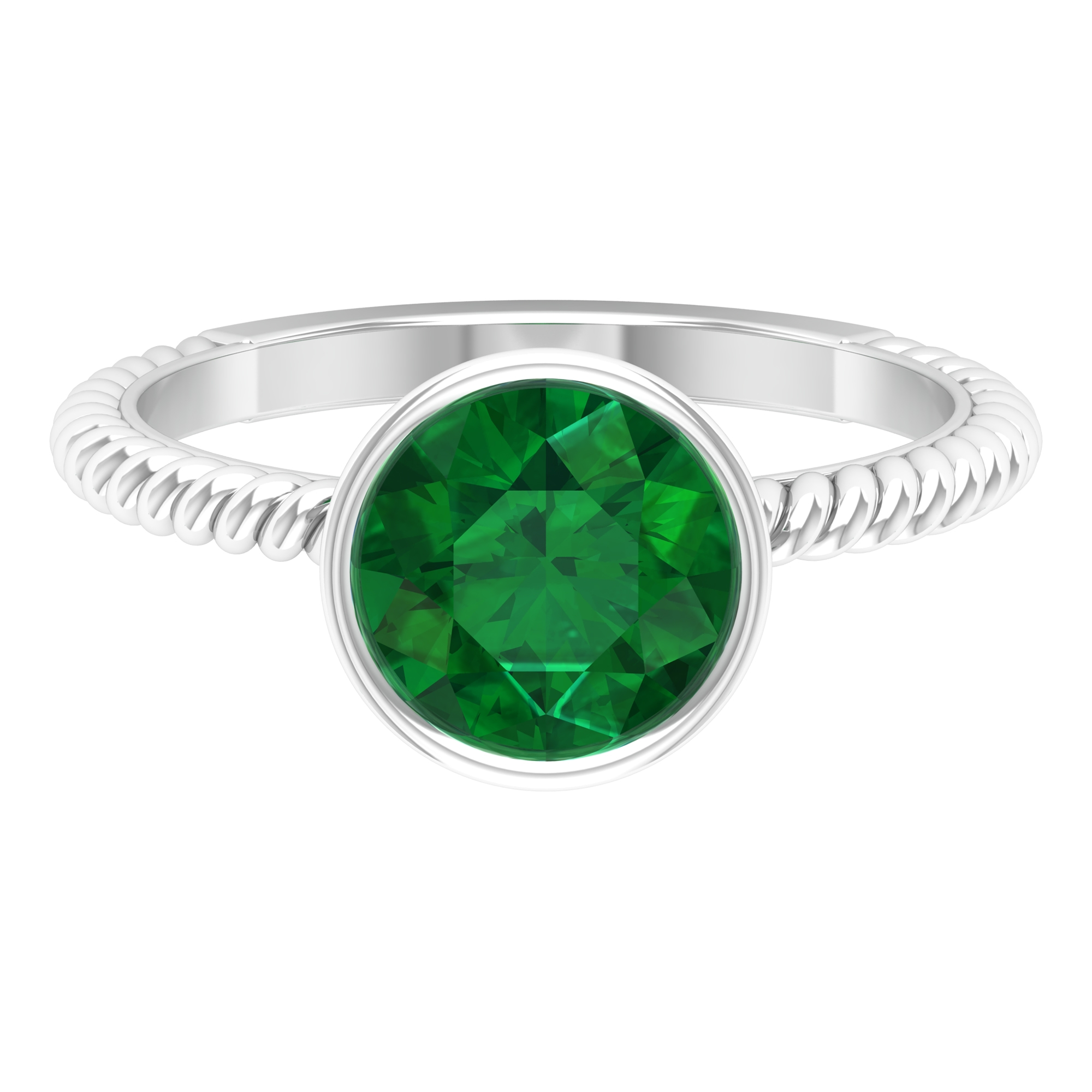 May Birthstone 8 MM Bezel Set Emerald Solitaire Ring with Twisted Rope