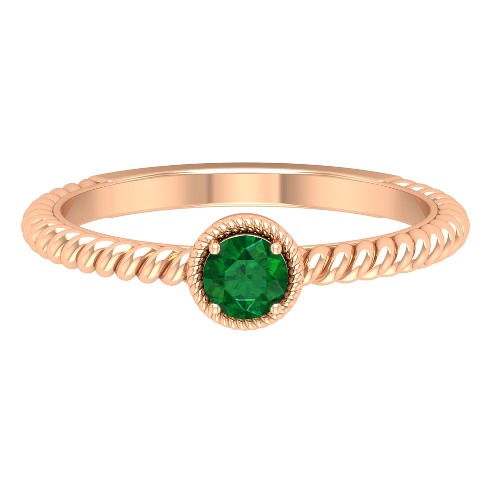4 MM Prong Set Round Emerald Solitaire Ring with Twisted Rope Details
