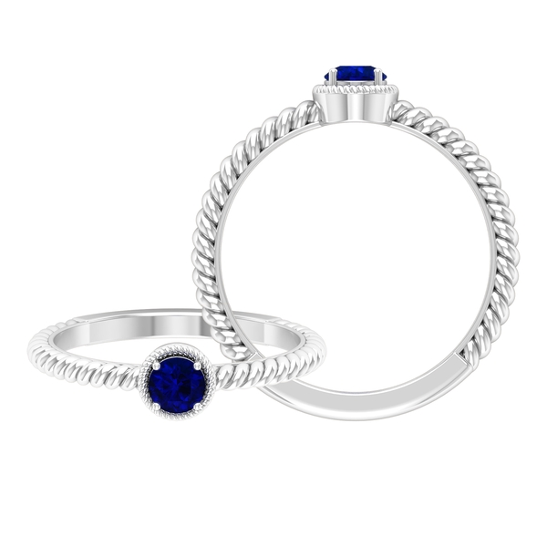 4 MM Round Shape Blue Sapphire Solitaire Ring in 4 Prong Setting with Twisted Rope Frame