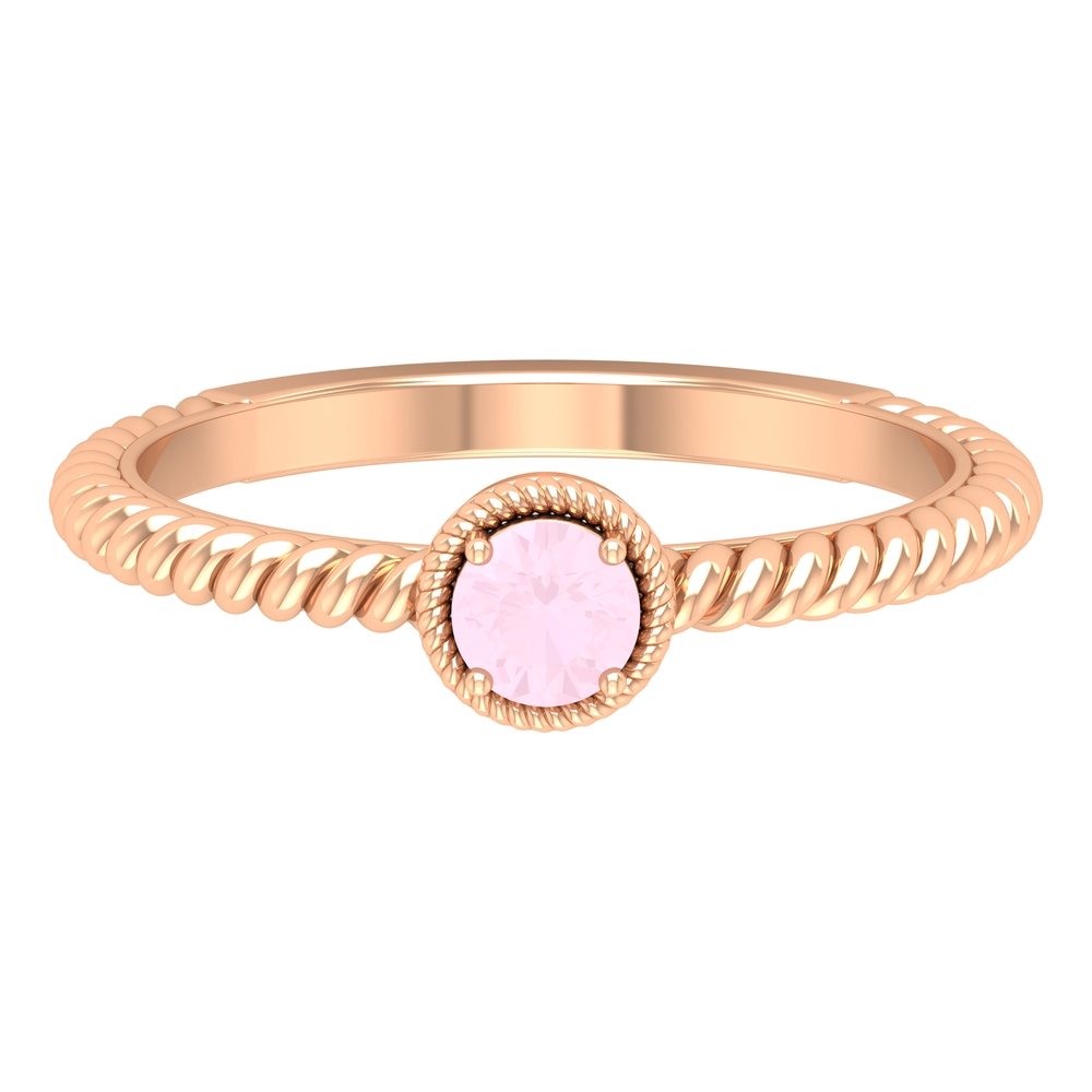 4 MM Round Shape Solitaire Rose Quartz Ring in 4 Prong Setting with Twisted Rope Embellishments