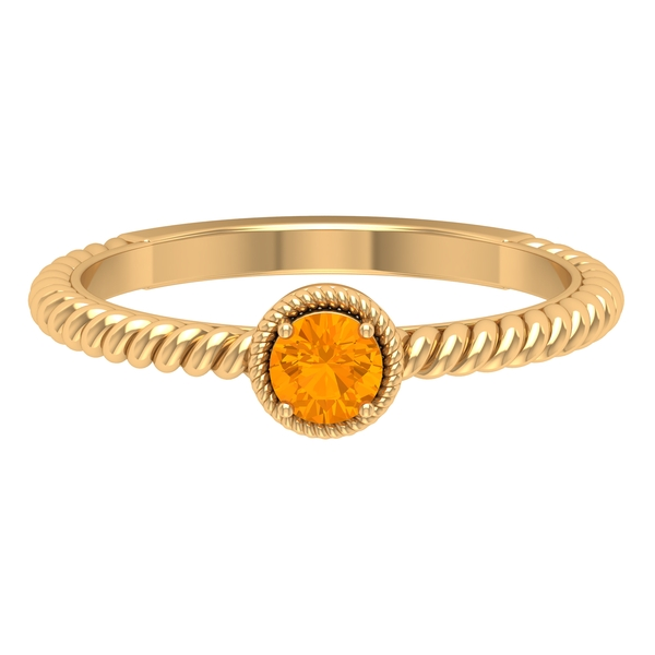 4 MM Round Shape Solitaire Orange Sapphire Ring in 4 Prong Setting with Twisted Rope Embellishments