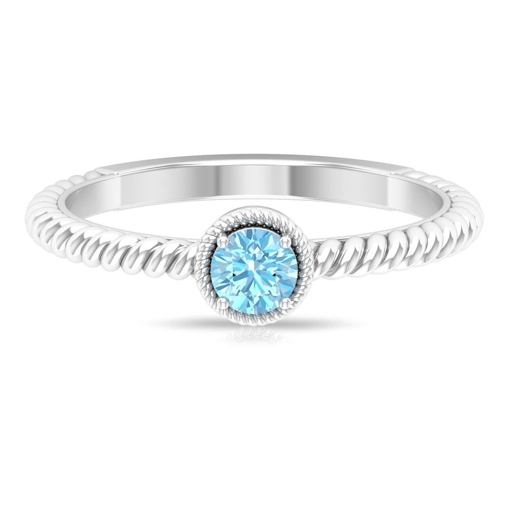 4 MM Round Shape Solitaire Aquamarine Ring in 4 Prong Setting with Twisted Rope Embellishments