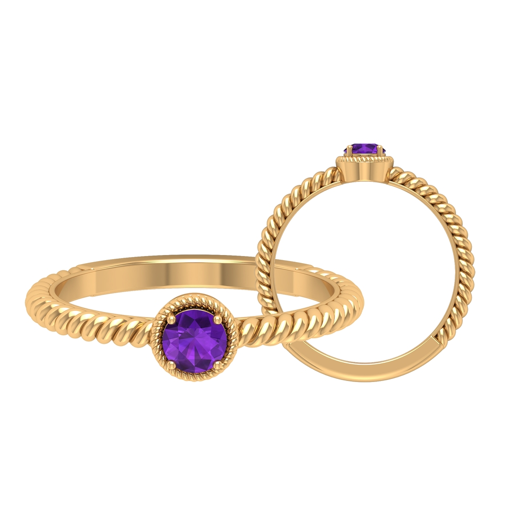 4 MM Round Shape Amethyst Solitaire Ring in 4 Prong Setting with Twisted Rope Frame