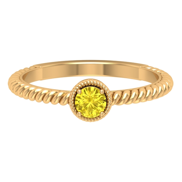 4 MM Round Shape Yellow Sapphire Solitaire Ring in 4 Prong Setting with Twisted Rope Frame