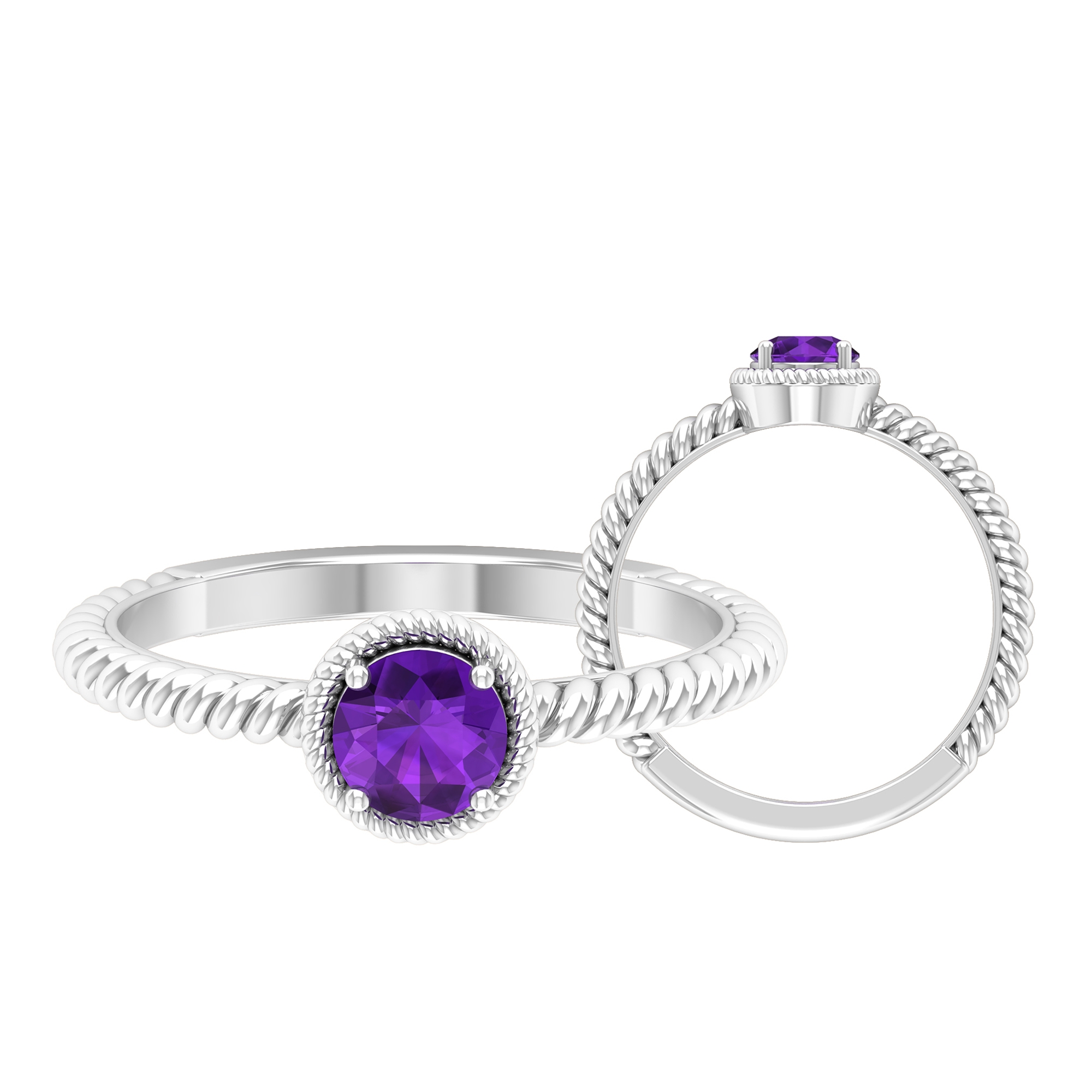 5 MM Round Shape Solitaire Amethyst Ring in 4 Prong Setting with Twisted Rope Frame
