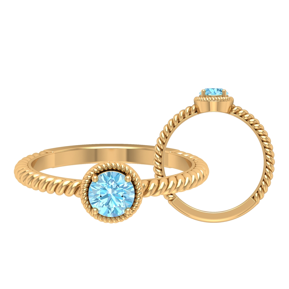5 MM Round Shape Solitaire Aquamarine Ring in 4 Prong Setting with Twisted Rope Frame