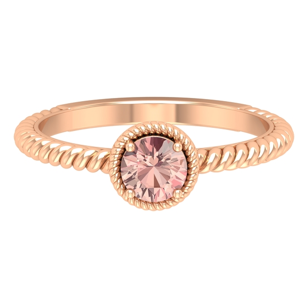 5 MM Round Shape Solitaire Morganite Ring in 4 Prong Setting with Twisted Rope Frame