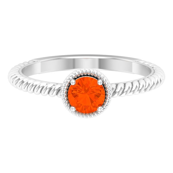 5 MM Round Shape Solitaire Fire Opal Ring in 4 Prong Setting with Twisted Rope Frame