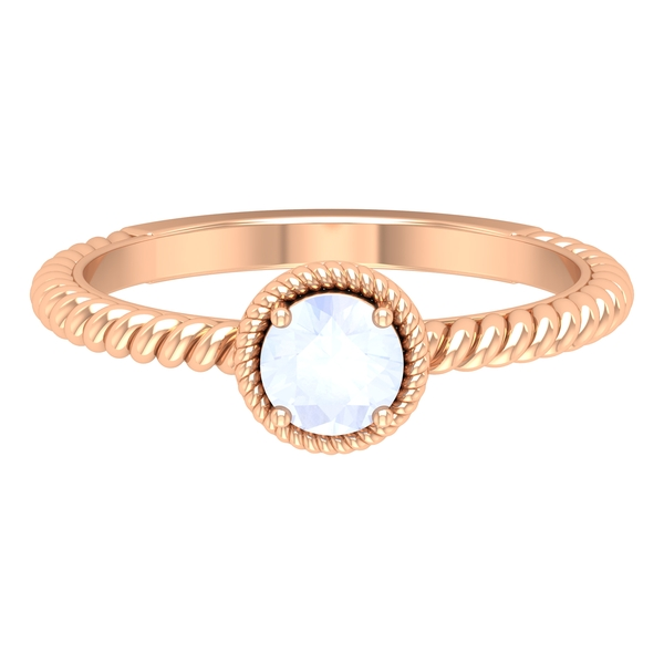 5 MM Round Shape Solitaire Moonstone Ring in 4 Prong Setting with Twisted Rope Frame