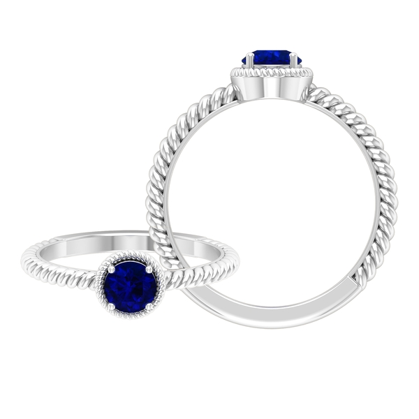 5 MM Round Shape Solitaire Blue Sapphire Ring in 4 Prong Setting with Twisted Rope Frame