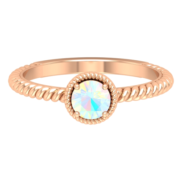 5 MM Round Shape Solitaire Ethiopian Opal Ring in 4 Prong Setting with Twisted Rope Frame