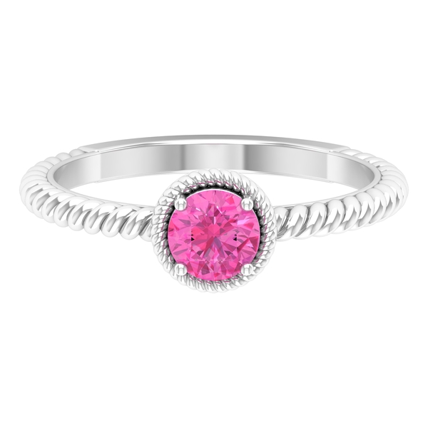 5 MM 4 Prong Set Pink Sapphire Solitaire Engagement Ring with Twisted Rope Shank