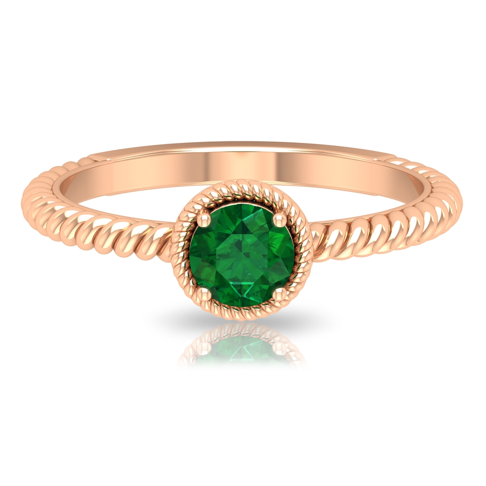 5 MM Round Cut Emerald Solitaire Ring with Gold Twisted Rope Band