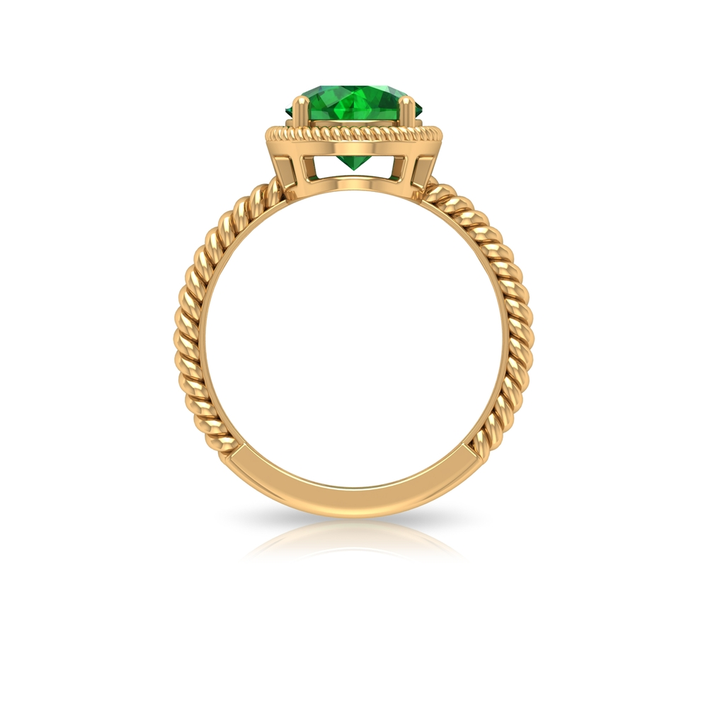 8 MM Round Emerald Solitaire Ring in Prong Setting with Twisted Rope Details