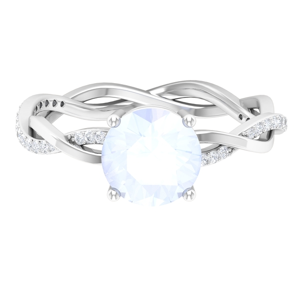 1 CT Moonstone Solitaire and Moissanite Side Stone Engagement Ring with Gold Braided Band