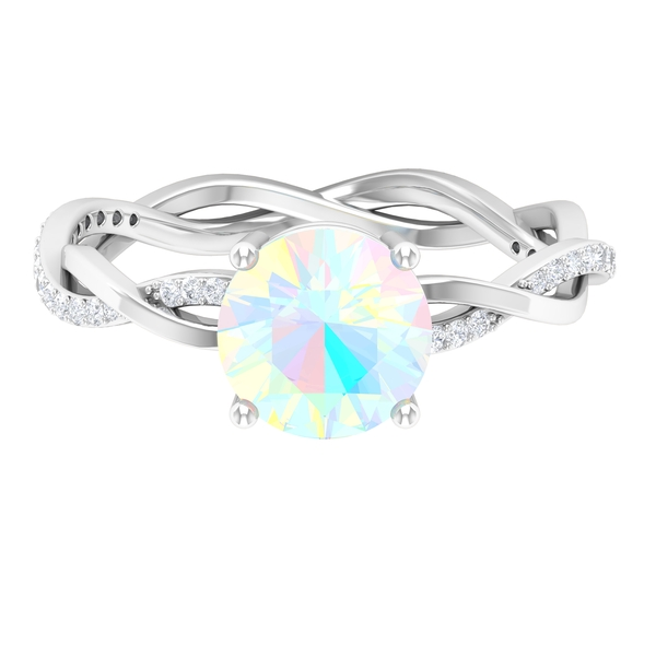 1 CT Ethiopian Opal Solitaire and Moissanite Side Stone Engagement Ring with Gold Braided Band