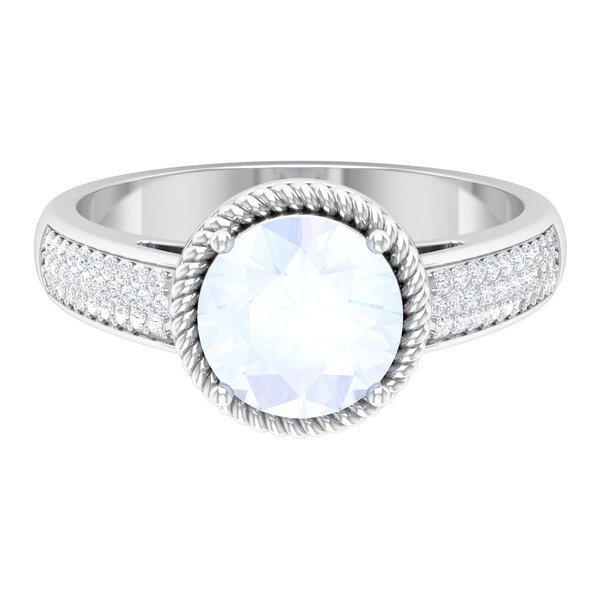 1.25 CT Moonstone Solitaire and Moissanite Side Stone Ring with Twisted Rope Frame