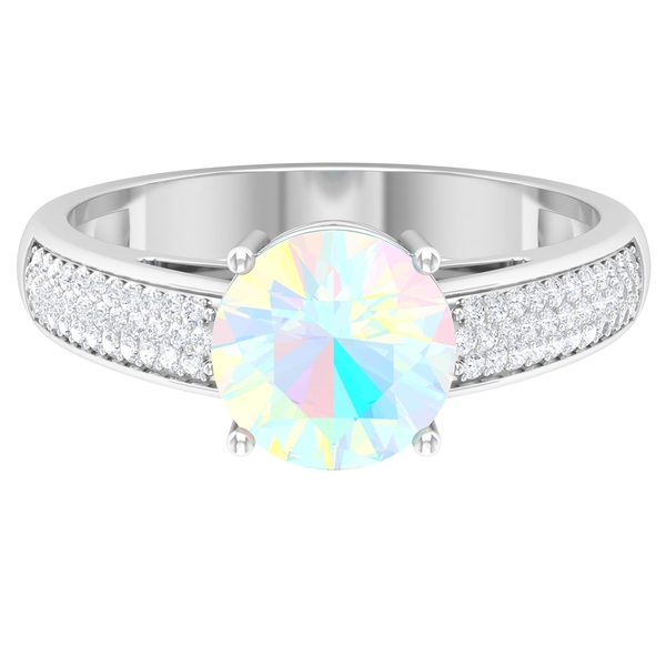 1.25 CT Ethiopian Opal Solitaire and Moissanite Side Stone Engagement Ring in 4 Prong Setting