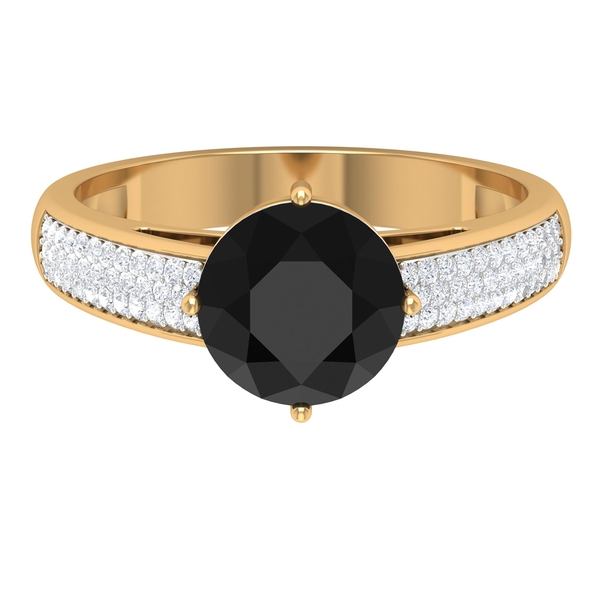 2.50 CT Solitaire Black Diamond Engagement Ring in 4 Prong Diagonal Setting with Moissanite Side Stones
