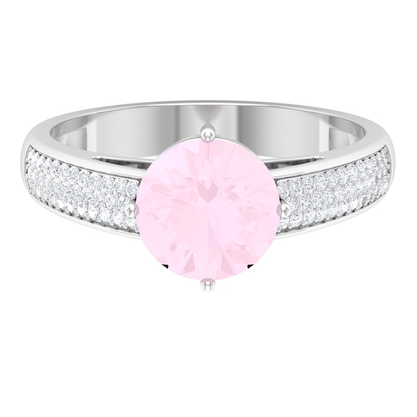 1/2 CT Solitaire Rose Quartz Engagement Ring in 4 Prong Diagonal Setting with Moissanite Side Stones