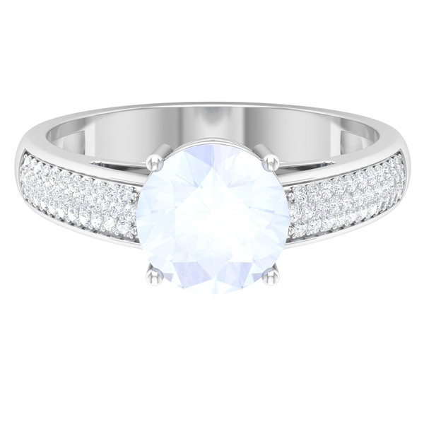 1.25 CT Moonstone Solitaire and Moissanite Side Stone Engagement Ring