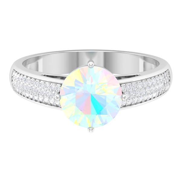 1.25 CT Solitaire Ethiopian Opal Engagement Ring in 4 Prong Diagonal Setting with Moissanite Side Stones