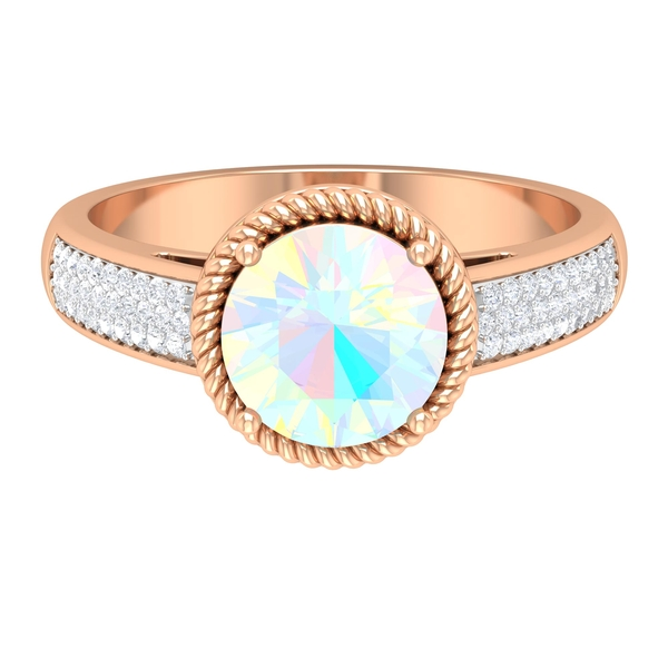 1.25 CT Ethiopian Opal Solitaire and Moissanite Side Stone Ring with Twisted Rope Frame