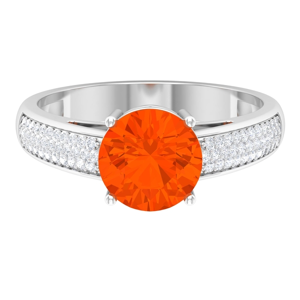 1.25 CT Fire Opal Solitaire and Moissanite Side Stone Engagement Ring in 4 Prong Setting