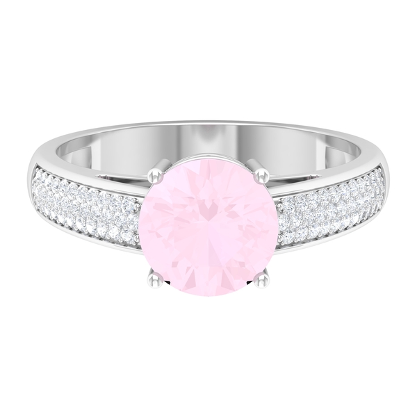 1/2 CT Rose Quartz Solitaire and Moissanite Side Stone Engagement Ring