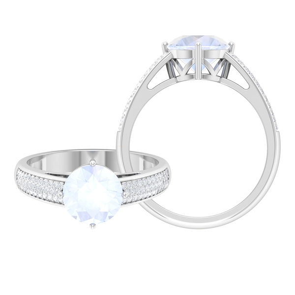 1.25 CT Solitaire Moonstone Engagement Ring in 4 Prong Diagonal Setting with Moissanite Side Stones