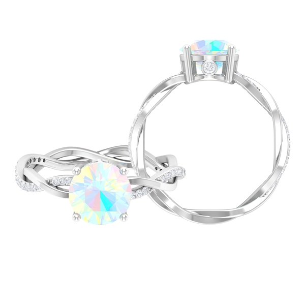1 CT Ethiopian Opal Solitaire and Moissanite Braided Engagement Ring