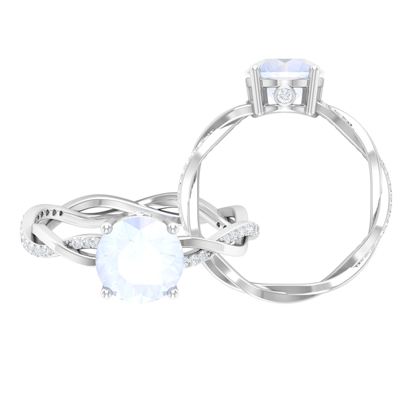 1 CT Moonstone Solitaire and Moissanite Braided Engagement Ring
