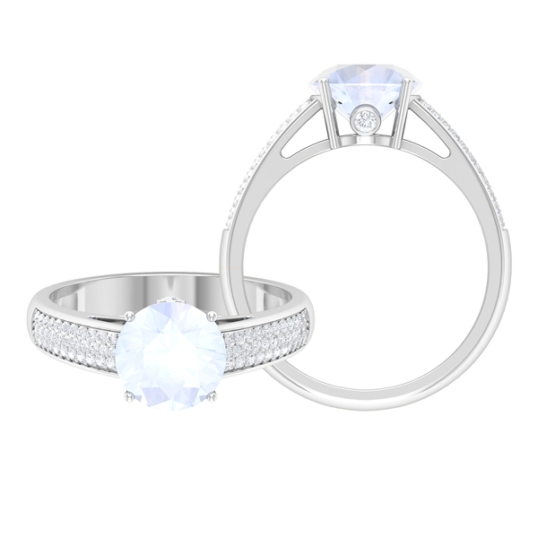 1.25 CT Solitaire Moonstone Engagement Ring in 4 Prong Setting with Hidden Moissanite and Side Stones