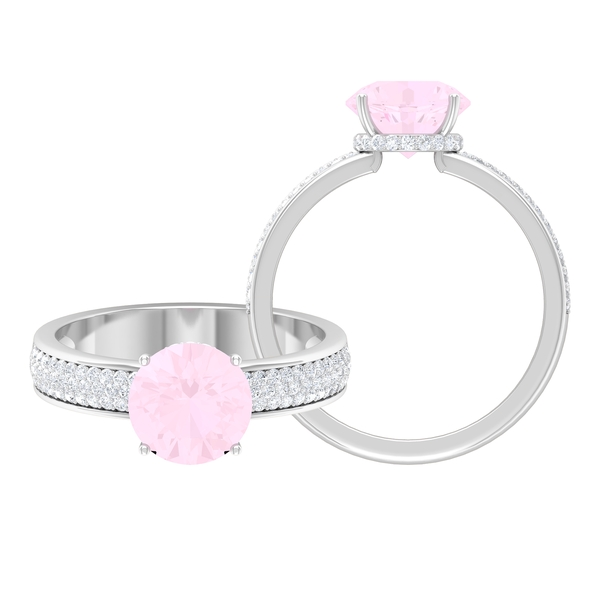 3/4 CT Rose Quartz Solitaire Ring in 4 Prong Setting with Hidden Halo Moissanite and Side Stones