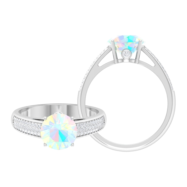 1.25 CT Solitaire Ethiopian Opal Engagement Ring in 4 Prong Setting with Hidden Moissanite and Side Stones