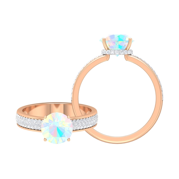 1.25 CT Ethiopian Opal Solitaire Engagement Ring in 4 Prong Setting with Hidden Halo Moissanite and Side Stones