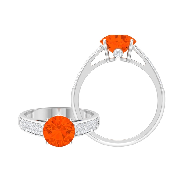 1.25 CT Solitaire Fire Opal Engagement Ring in 4 Prong Setting with Hidden Moissanite and Side Stones