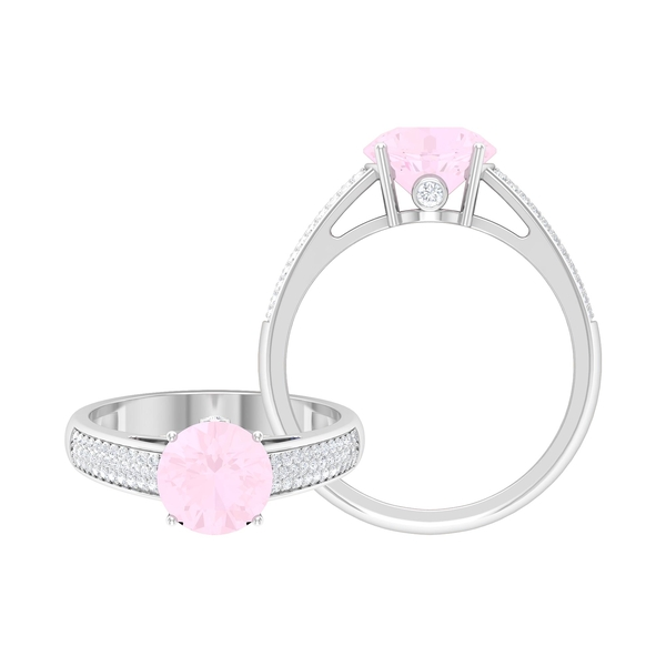 1/2 CT Solitaire Rose Quartz Engagement Ring in 4 Prong Setting with Hidden Moissanite and Side Stones