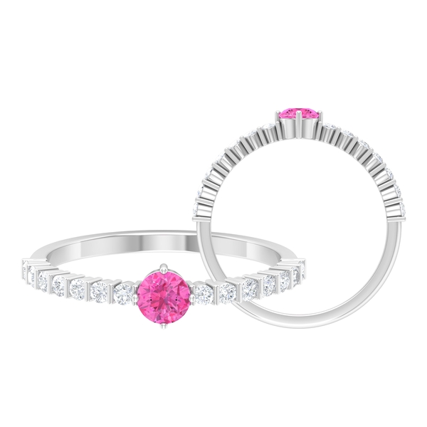 3/4 CT 4 Prong Diagonal Set Pink Sapphire Solitaire Engagement Ring with Bar Set Diamonds