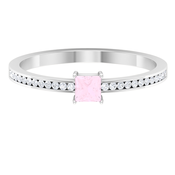 3.3X3.3 MM Princess Cut Solitaire Rose Quartz Ring in 4 Prong Setting with Diamond Side Stones