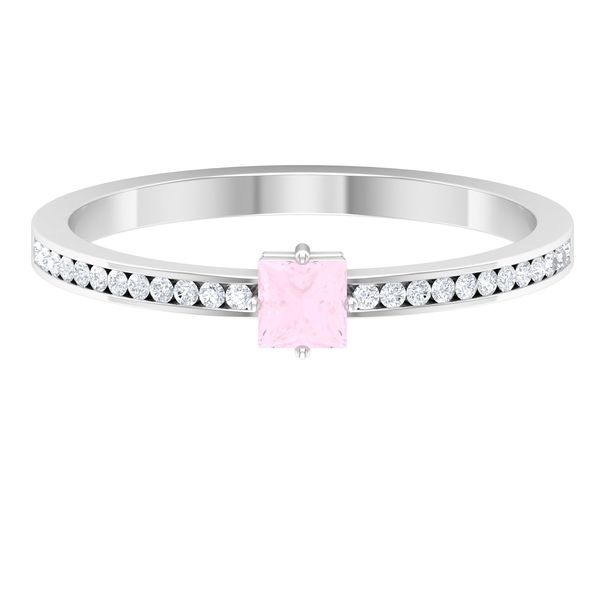 3.30 MM Princess Cut Solitaire Rose Quartz Ring in 4 Prong Diagonal Setting with Diamond Side Stones